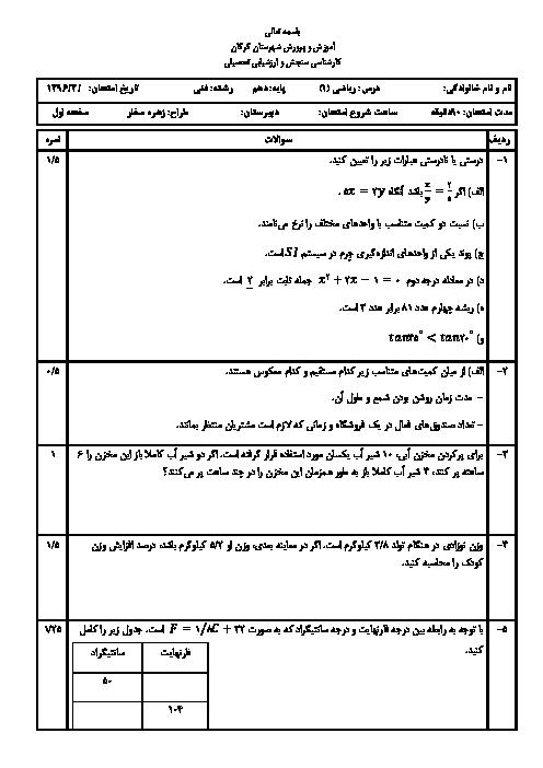 آزمون نوبت دوم ریاضی (1) پایه دهم هنرستانهای گرگان | خرداد 1396