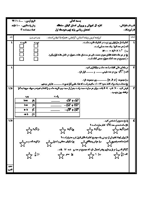 آزمون  ریاضی پایه نهم دیماه 94 نوبت اول |  استان گیلان