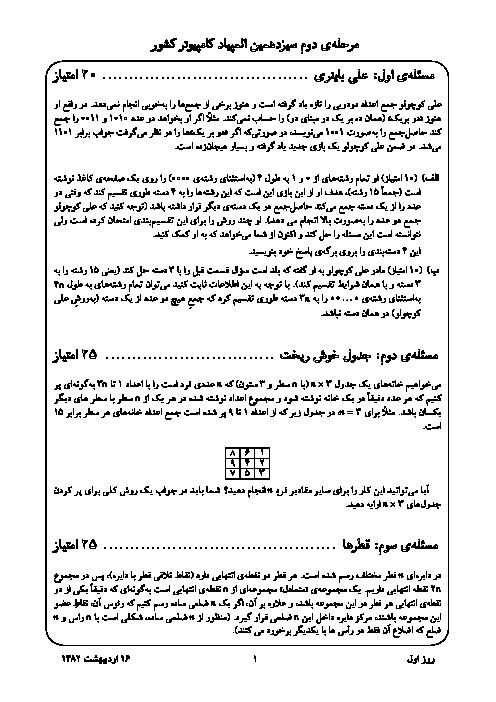 آزمون مرحله دوم سیزدهمین المپیاد کامپیوتر کشور | اردیبهشت 1382