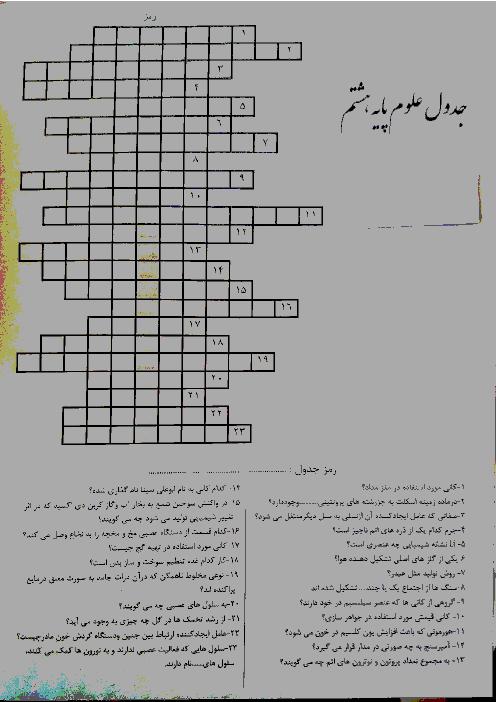 کاربرگ آموزشی علوم هشتم (جدول)