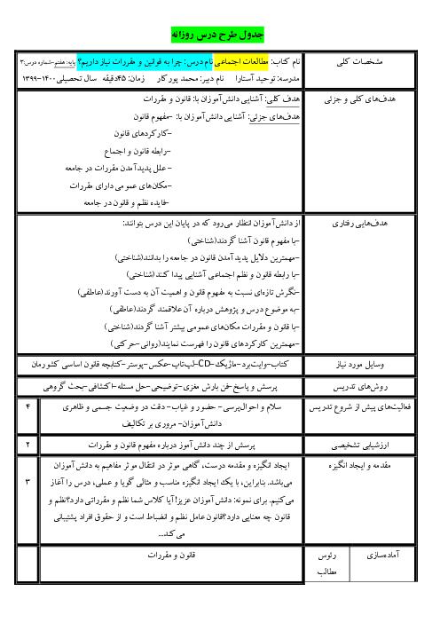 جدول طرح درس روزانه مطالعات اجتماعی هفتم   درس 3 و 4