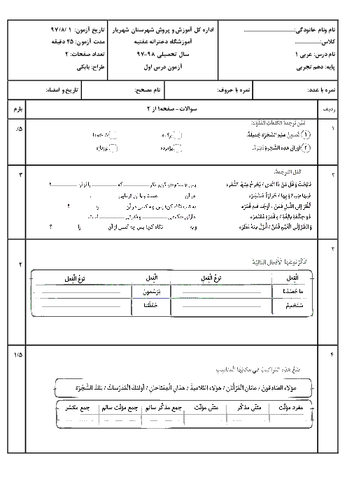 آزمون درس اول عربی (1) دهم دبیرستان عفتیه | اَلدَّرْسُ الْأَوَّلُ: ذاكَ هوَ اللّٰهُ