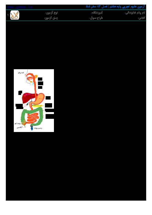 جدیدترین نمونه سوال علوم تجربی پایه هفتم   فصل 13: سفر غذا در دستگاه گوارش