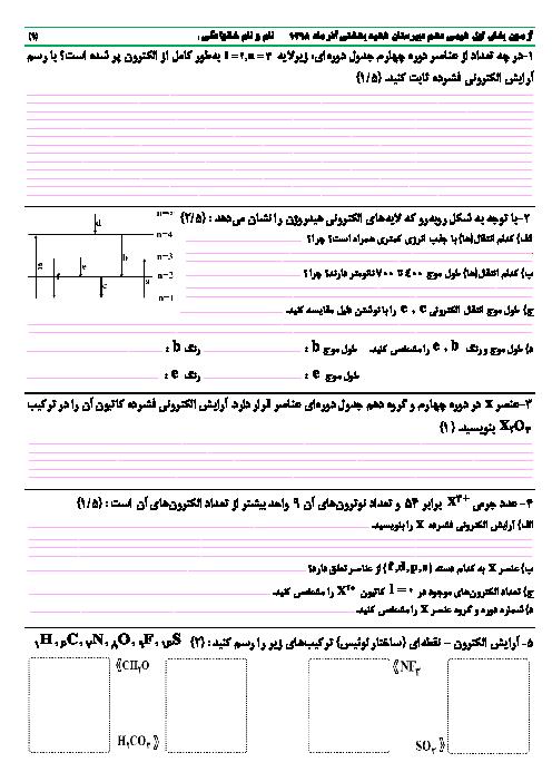 آزمون پایانی فصل 1 شیمی (1) دهم دبیرستان شهید بهشتی | کیهان زادگاه الفبای هستی
