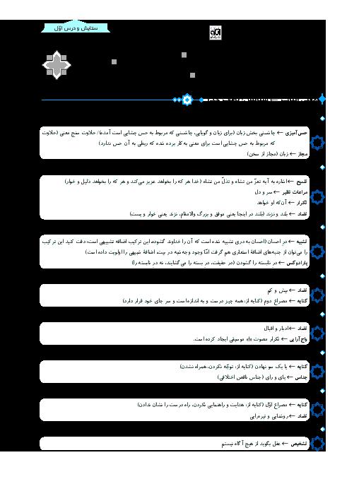 آرایه های ادبی کتاب فارسی یازدهم