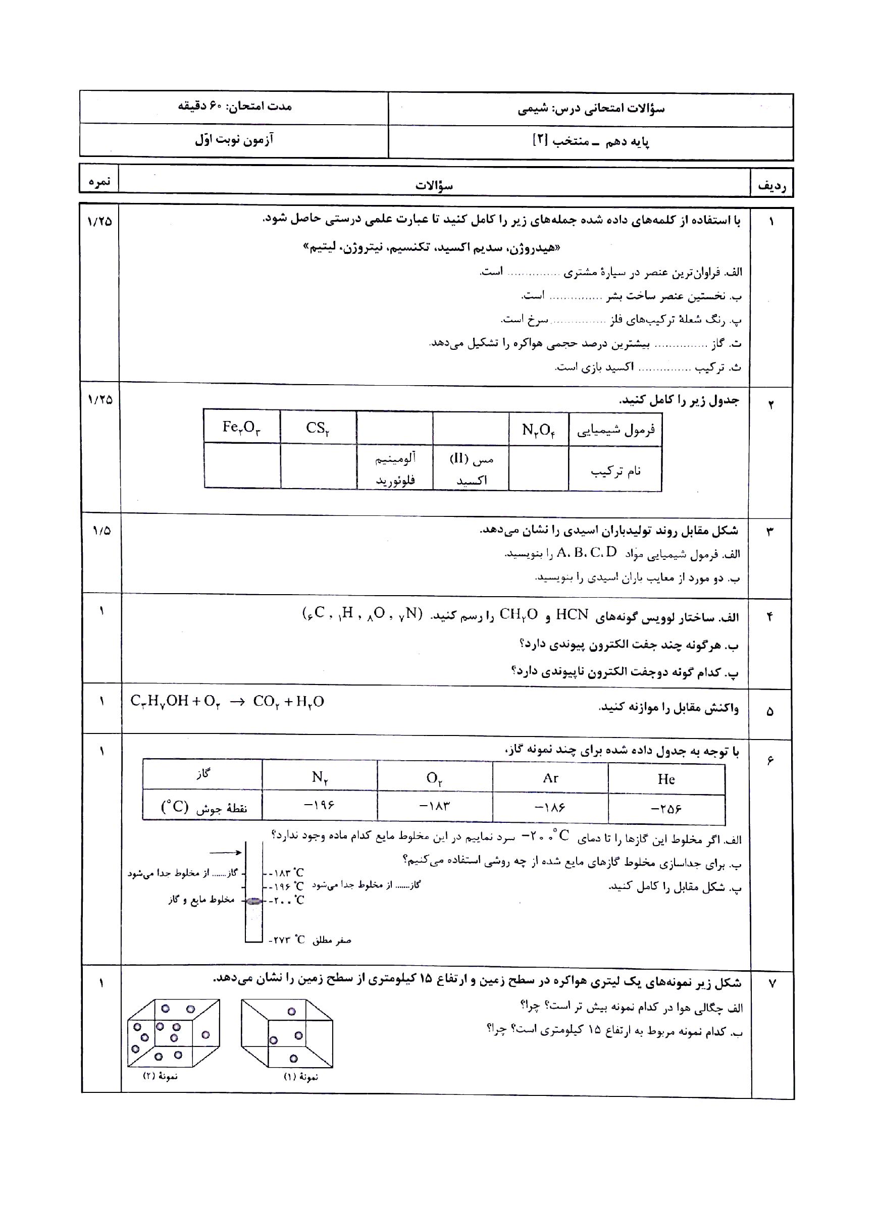 سوالات امتحانی ترم اول شیمی (1) دهم با جواب