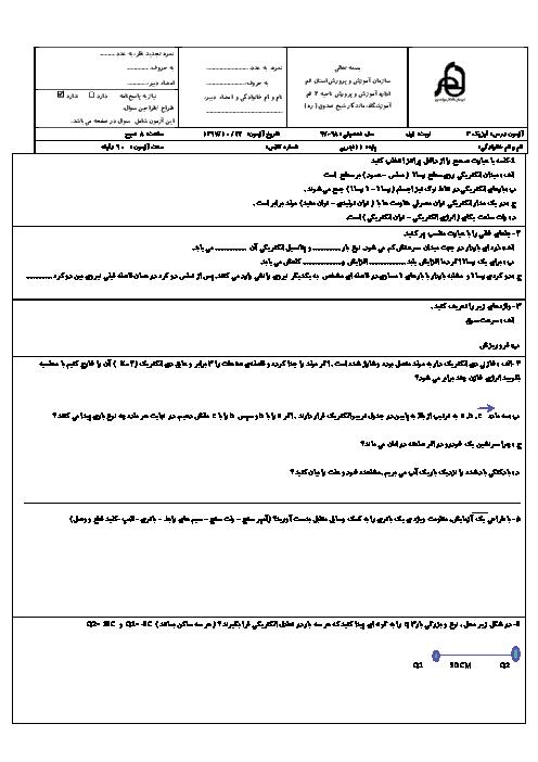 آزمون نوبت اول فیزیک (2) یازدهم دبیرستان ماندگار شیخ صدوق   دی 1397