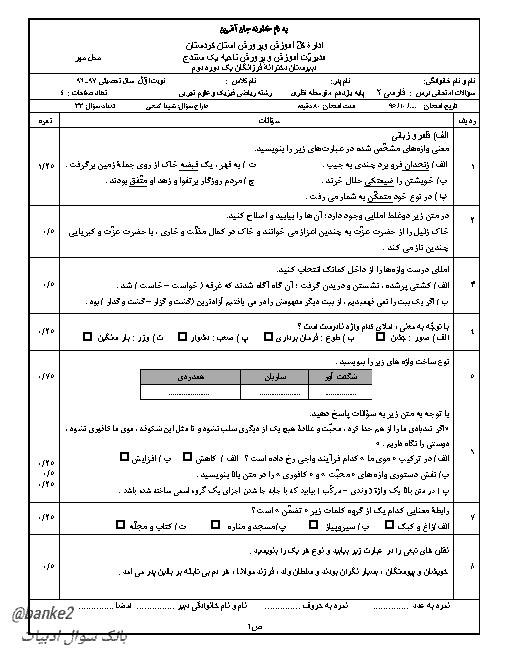 سوالات امتحان نوبت اول فارسی (2) یازدهم دبیرستان فرزانگان سنندج | دیماه 96