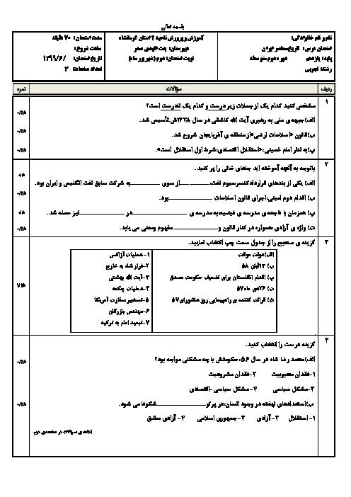 آزمون جبرانی تابستان تاریخ معاصر ایران یازدهم دبیرستان بنت الهدی صدر | شهریور 1399