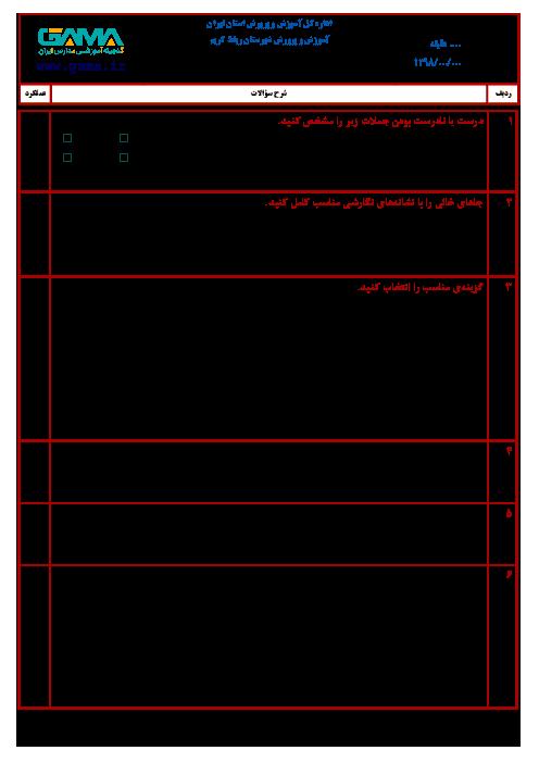 آزمون نوبت دوم انشای فارسی ششم هماهنگ رباط کریم | خرداد 1398