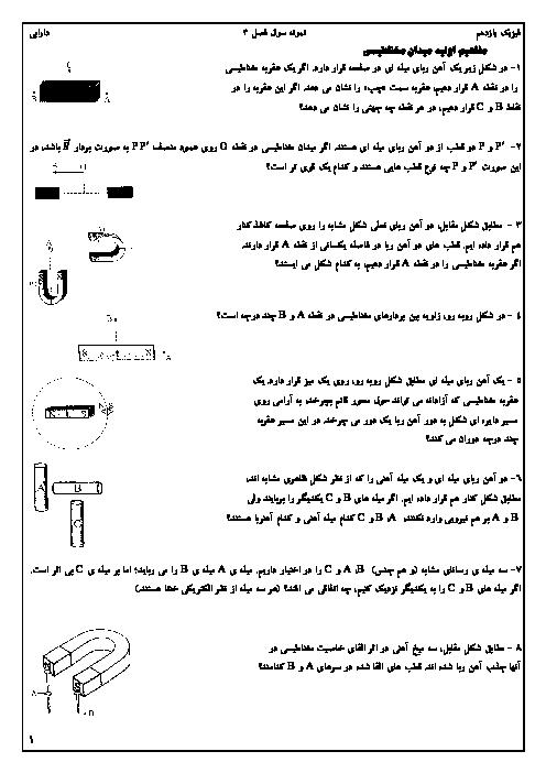 سؤالات طبقهبندی شده فیزیک (2) یازدهم | فصل 3: مغناطیس