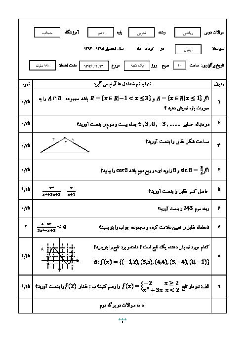 سوالات امتحان نوبت دوم ریاضی (1) دهم رشته رياضی و تجربی دبیرستان حجاب دزفول - خرداد 96