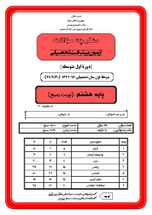 سوالات و پاسخ کلیدی آزمون پیشرفت تحصیلی پایه هشتم استان خراسان رضوی | نوبت صبح مرحله اول 98-97
