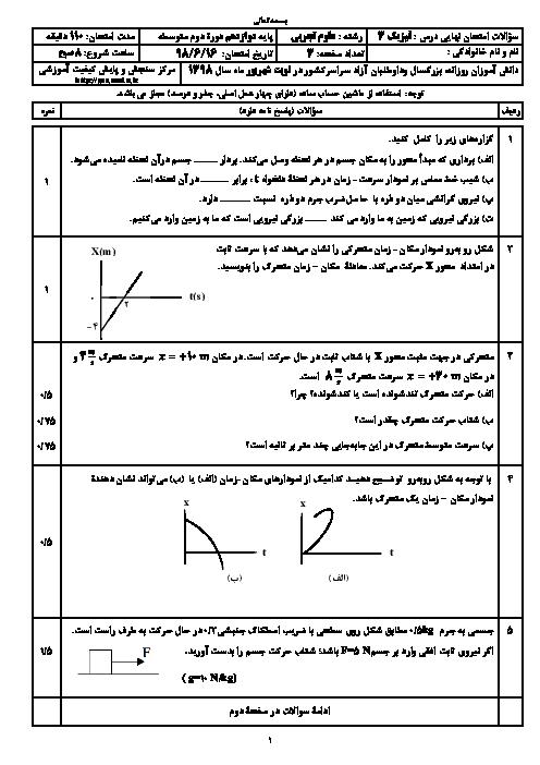 سؤالات امتحان نهایی درس فیزیک (3) دوازدهم رشته تجربی | شهریور 1398