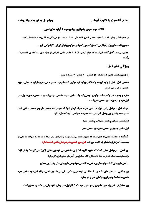 نکات مهم دستور زبان ادبیات فارسی هشتم