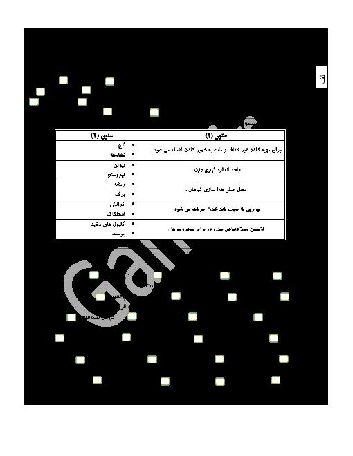 آزمون نوبت دوم علوم تجربی ششم دبستان مدرسۀ شهید ناصر حاجیانی با پاسخ|  خرداد 96