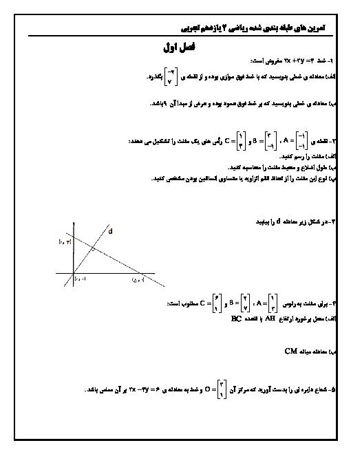 مجموعه تمرین های طبقه بندی شده درس به درس ریاضی 2 یازدهم تجربی | فصل 1 تا 7