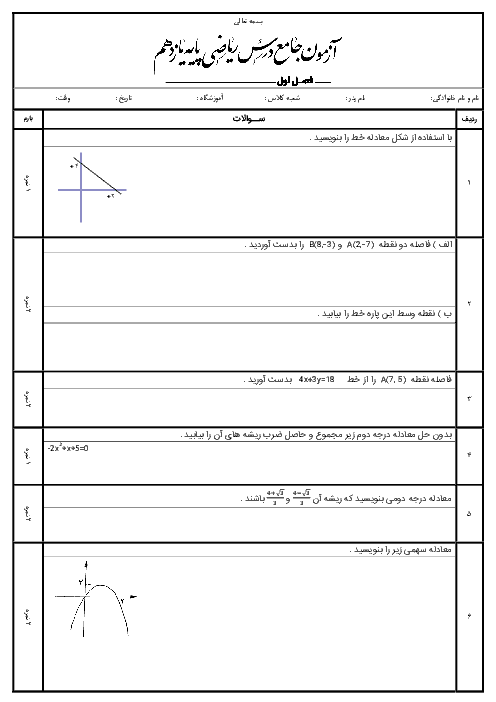 سوالات امتحان ریاضی (2) رشتۀ تجربی پایۀ یازدهم |  فصل اول: هندسۀ تحلیلی و جبر