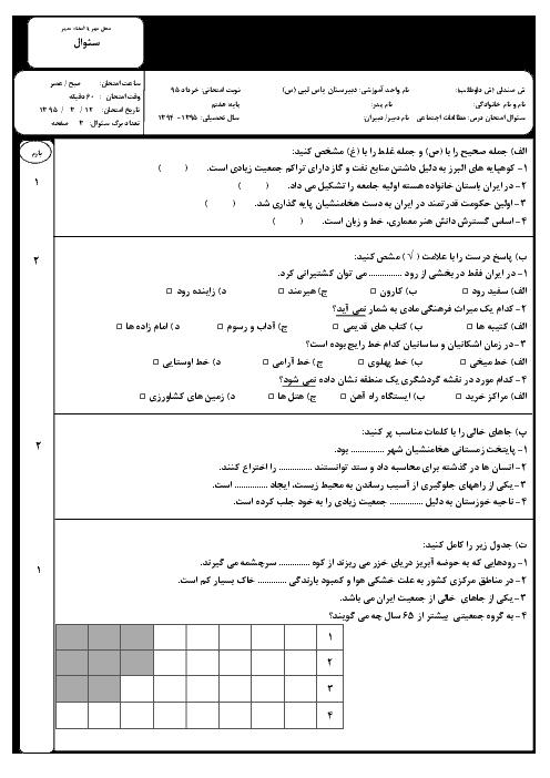 آزمون نوبت دوم مطالعات اجتماعی هفتم دبیرستان یاس نبی | خرداد 95