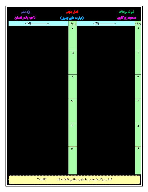 آزمون ریاضی نهم مدرسه شهید رزمجو مقدم   فصل 5: عبارتهای جبری