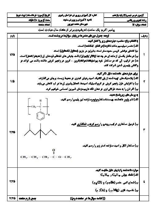 سوالات امتحان ترم دوم شیمی یازدهم دبیرستان هفده شهریور   خرداد 1397