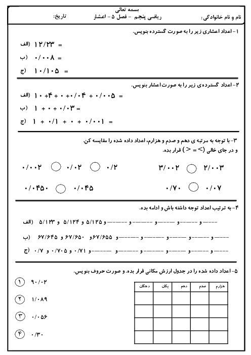 آزمونک ریاضی پنجم دبستان شهید صدری | فصل 5: عددهای اعشاری