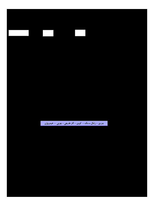 آزمون نوبت دوم شیمی (1) پایه دهم دبیرستان زنده یاد صافی دستجردی  | خرداد 1396