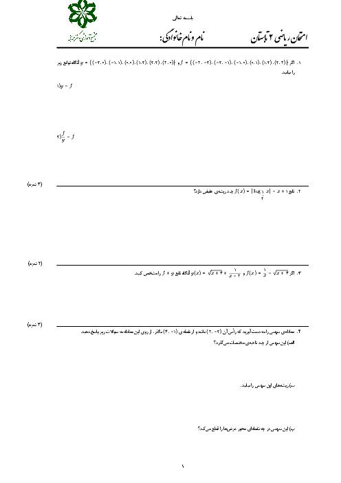 امتحان دوره فصل 3 ریاضی یازدهم تجربی دبیرستان دکتر حسابی کاشان | انواع توابع، وارون تابع و اعمال جبری روی توابع