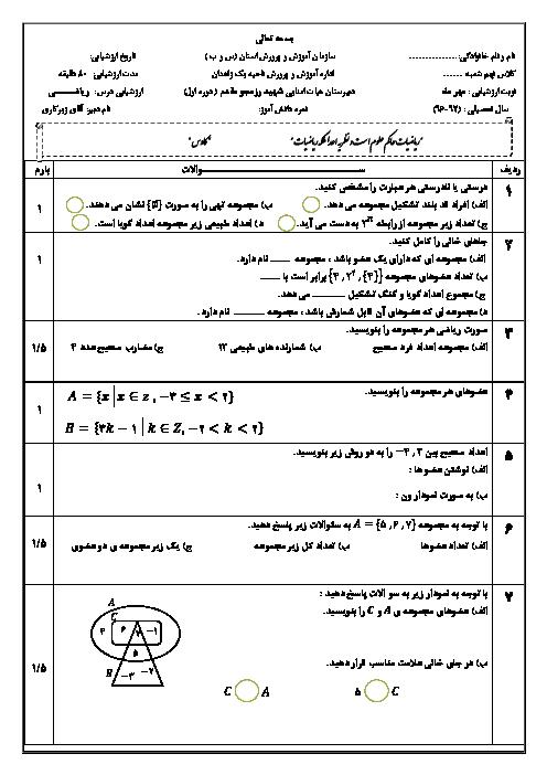 ارزشیابی مستمر ریاضی نهم دبیرستان شهید رزمجو مقدم زاهدان با جواب | فصل 1