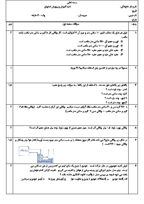 امتحان پایانی فصل 1 فیزیک (1) دهم دبیرستان شهدای هاتف