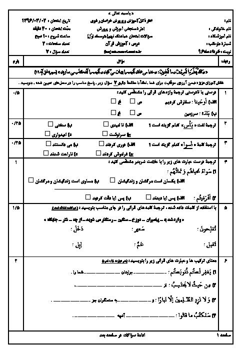 سؤالات و پاسخنامه امتحان هماهنگ استانی نوبت دوم خرداد ماه 96 درس آموزش قرآن پایه نهم | نوبت صبح و عصر استان خراسان رضوی