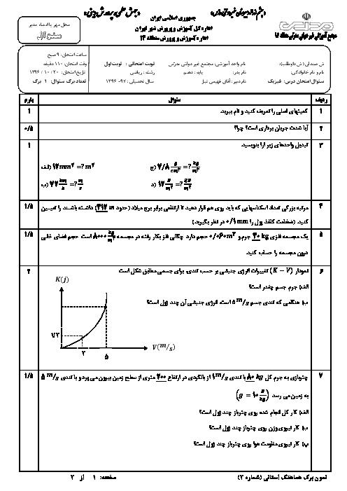 آزمون نیمسال اول فیزیک دهم رشته علوم ریاضی دبیرستان مدرس | دیماه 96
