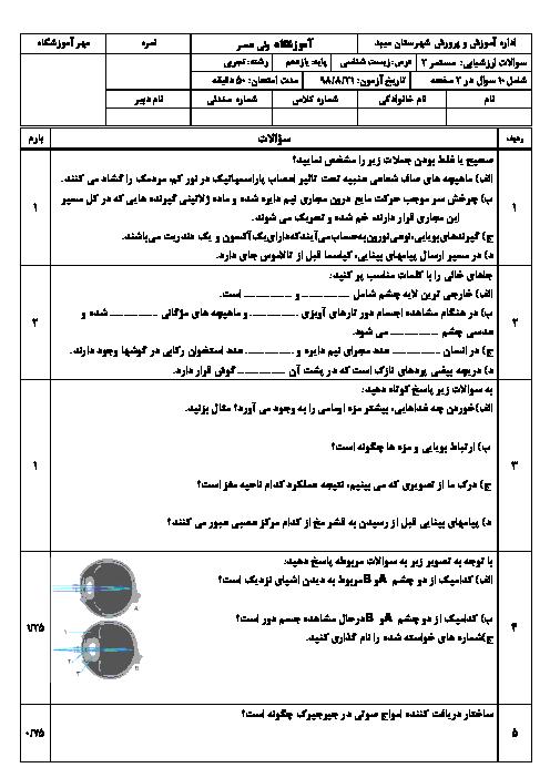 امتحان زیست شناسی یازدهم دبیرستان شاهدالعلوم | فصل 2: حواس