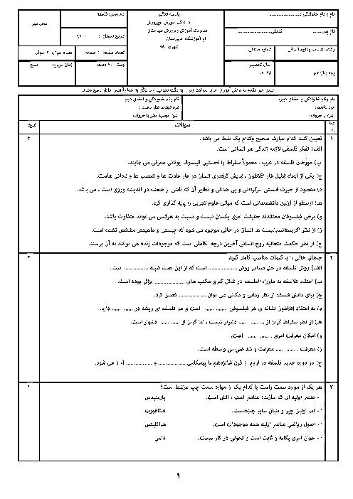 امتحان جبرانی تابستان فلسفه یازدهم دبیرستان طلوع امید درمیان | شهریور 1398