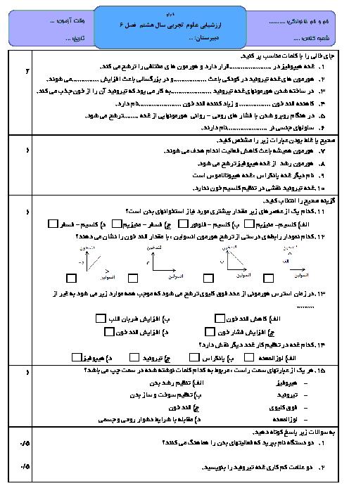 آزمونک علوم تجربی هشتم  | فصل 6 با جواب (تنظیم هورمونی)