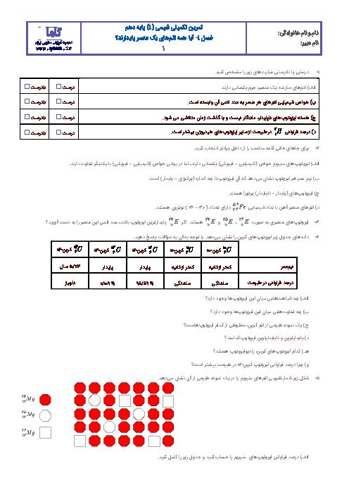 آزمونک شیمی (1) دهم رشته رياضی و تجربی با جواب  | فصل اول: آیا همه اتمهای یک عنصر پایدارند؟
