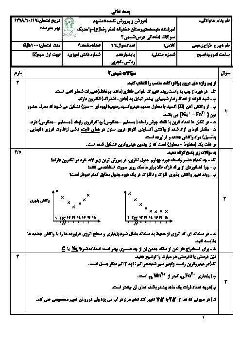 امتحان ترم اول شیمی یازدهم دبیرستان امام رضا واحد 1 مشهد   دی 98