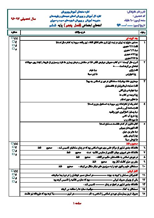 ارزشیابی مستمر مطالعات اجتماعی ششم دبستان   فصل پنجم: پیشرفت علوم و فنون در دورهی اسلامی
