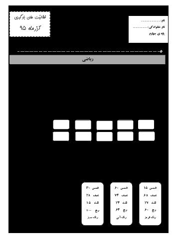 پیک آموزشی آذرماه ریاضی، علوم و فارسی چهارم دبستان - ادارهی تکنولوژی و گروههای آموزشی اردبیل