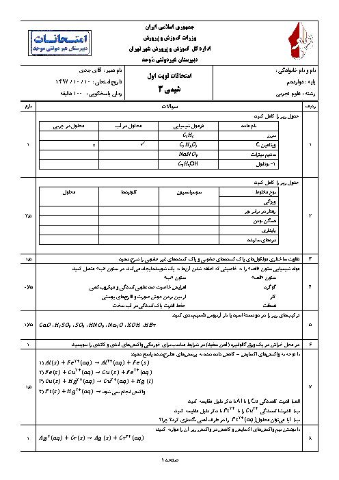 سوالات و پاسخنامه امتحان ترم اول شیمی (3) دوازدهم دبیرستان موحد | دی 1397