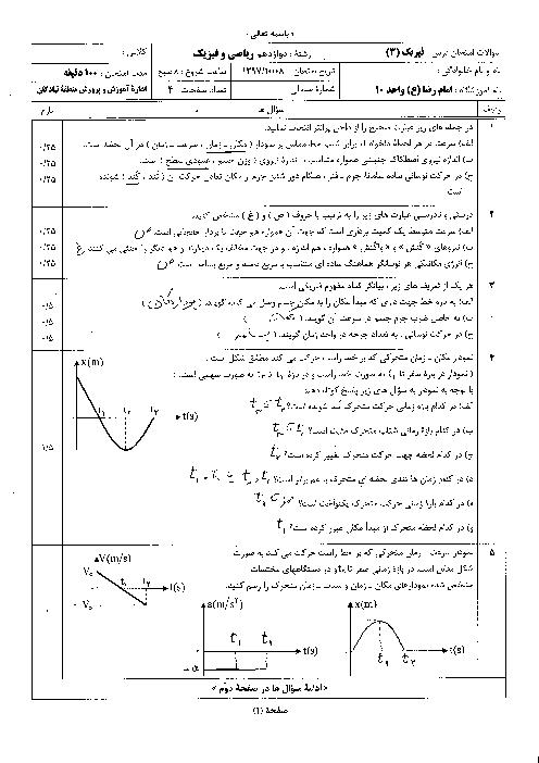 سؤالات و پاسخنامه امتحان ترم اول فیزیک (3) ریاضی دوازدهم دبیرستان امام رضا (ع) | دی 1397