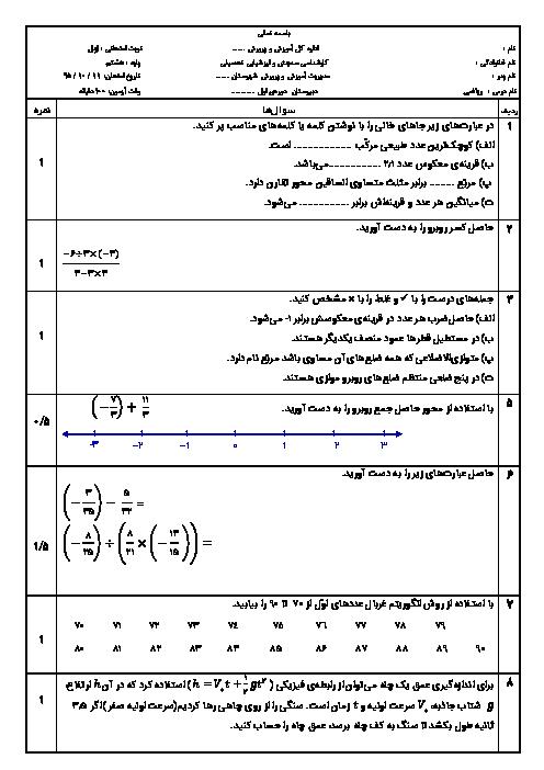 امتحان نوبت اول ریاضی هشتم دبیرستان ابوریحان لامرد | دی 95