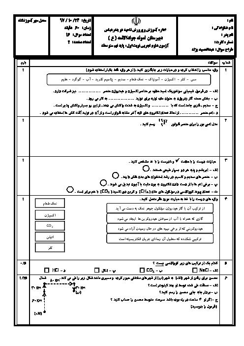 آزمون نوبت اول علوم تجربی پایه نهم مدرسه جواد الائمه | دی 1396 + پاسخ