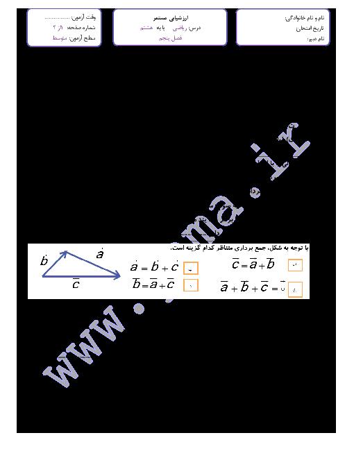مجموعه تمرین ریاضی هشتم  | فصل پنجم: بردار و مختصات