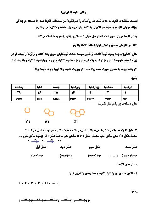 جزوه آموزش آسان فصل 1 ریاضی ششم ابتدایی   عدد و الگوهای عددی