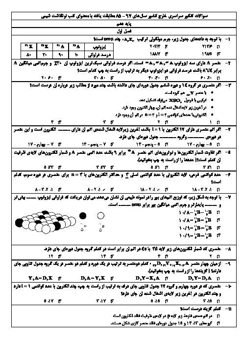 سوالات کنکور سراسری خارج کشور سالهای 97 – 85 مطابقت یافته با محتوای کتب نونگاشت شیمی (1 و 2 و 3)