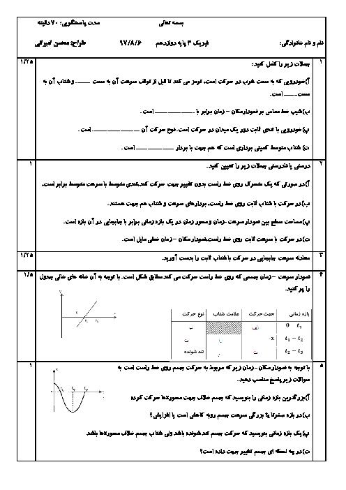 نمونه سوال امتحان فیزیک (3) ریاضی دوازدهم | فصل 1: حرکت بر خط راست