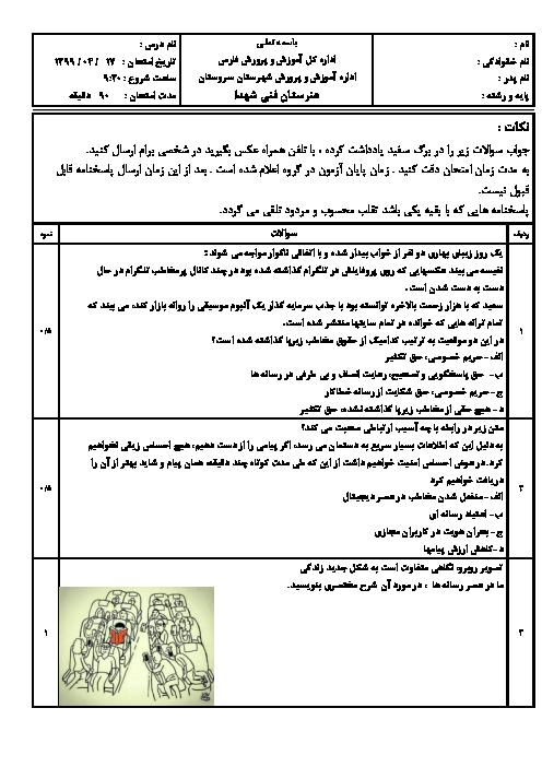 سوالات امتحان نوبت دوم تفکر و سواد رسانهای یازدهم هنرستان فنی شهداء سروستان   خرداد 1399
