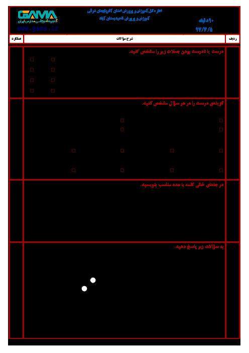 سؤالات امتحان هماهنگ نوبت دوم ریاضی پایه ششم ابتدائی مدارس ناحیۀ بستان آباد | خرداد 1397