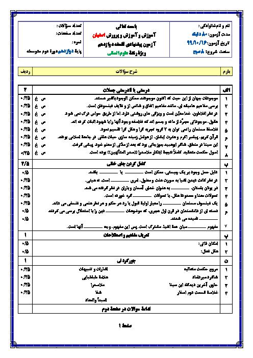 نمونه سوال امتحان ترم دوم فلسفه (2) دوازدهم دبیرستان امام خمینی اردستان | خرداد 1399